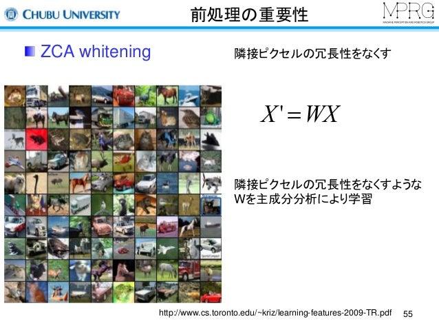 前処理の重要性  ZCA whitening  隣接ピクセルの冗長性をなくす  X' =WX  隣接ピクセルの冗長性をなくすような  Wを主成分分析により学習  http://www.cs.toronto.edu/~kriz/learning-...