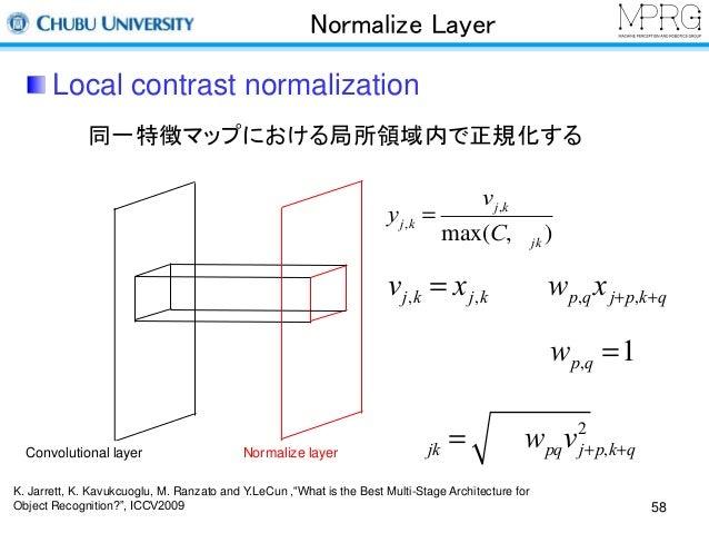 Normalize Layer  Local contrast normalization  同一特徴マップにおける局所領域内で正規化する  Convolutional layer Normalize layer  vj,k = xj,k - ...