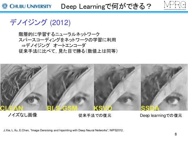 Deep Learningで何ができる?  デノイジング(2012)  階層的に学習するニューラルネットワーク  スパースコーディングをネットワークの学習に利用  ⇒デノイジングオートエンコーダ  従来手法に比べて,見た目で勝る(数値上は同等)...