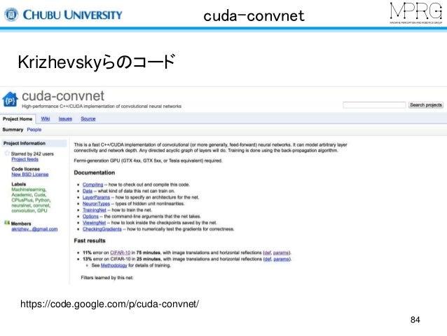 cuda-convnet  Krizhevskyらのコード  https://code.google.com/p/cuda-convnet/  84