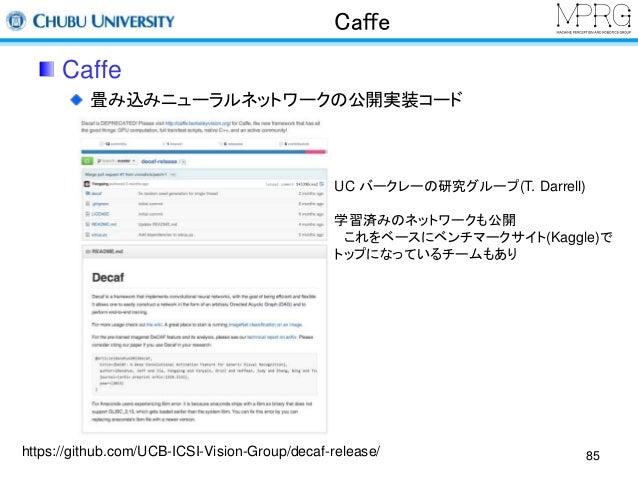 Caffe  Caffe  畳み込みニューラルネットワークの公開実装コード  UC バークレーの研究グループ(T. Darrell)  学習済みのネットワークも公開  これをベースにベンチマークサイト(Kaggle)で  トップになっているチー...