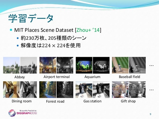  MIT Places Scene Dataset [Zhou+ '14]  約230万枚、205種類のシーン  解像度は224 × 224を使用 学習データ Abbey Airport terminal Aquarium Basebal...