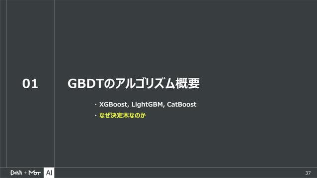 37 01 GBDTのアルゴリズム概要 ・ XGBoost, LightGBM, CatBoost ・ なぜ決定木なのか