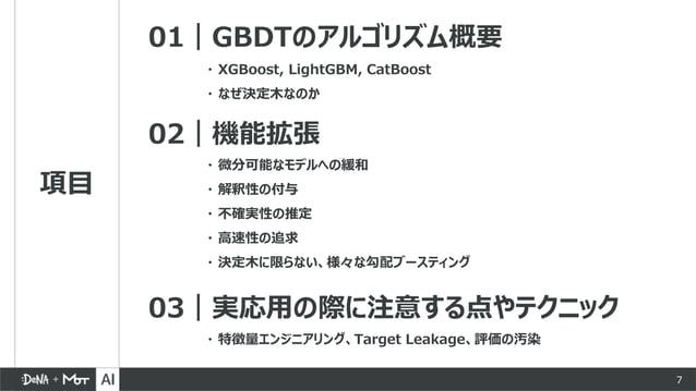 項目 01|GBDTのアルゴリズム概要 02|機能拡張 03|実応用の際に注意する点やテクニック ・ 微分可能なモデルへの緩和 ・ 解釈性の付与 ・ 不確実性の推定 ・ 高速性の追求 ・ 決定木に限らない、様々な勾配ブースティング ・ XGBo...