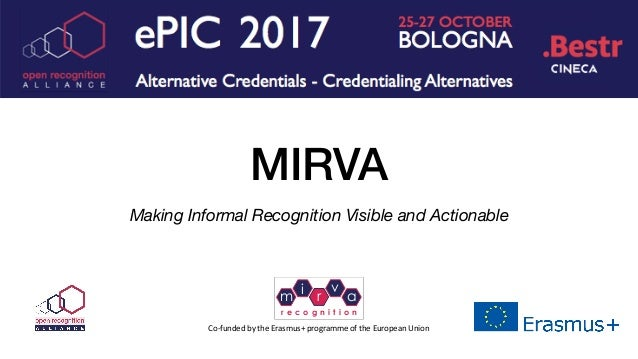 MIRVA Making Informal Recognition Visible and Actionable Co-funded	by	the	Erasmus+	programme	of	the	European	Union m i r v...