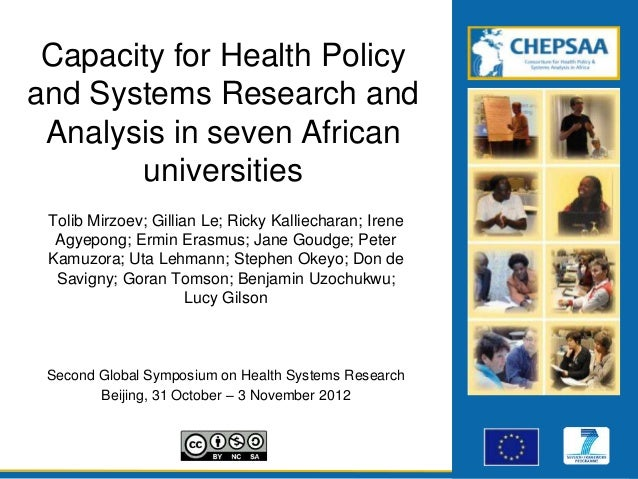 Capacity for Health Policyand Systems Research and Analysis in seven African       universities Tolib Mirzoev; Gillian Le;...