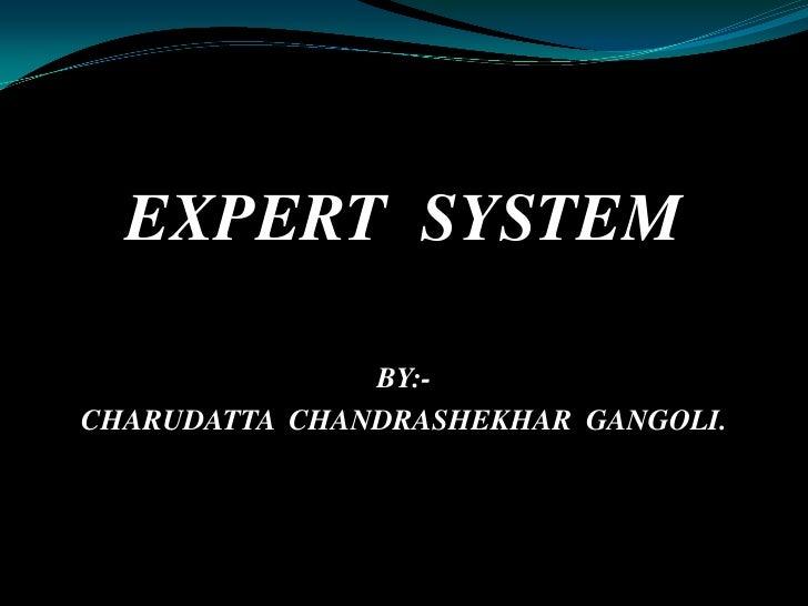 EXPERT  SYSTEM<br />BY:-<br />CHARUDATTA  CHANDRASHEKHAR  GANGOLI.<br />