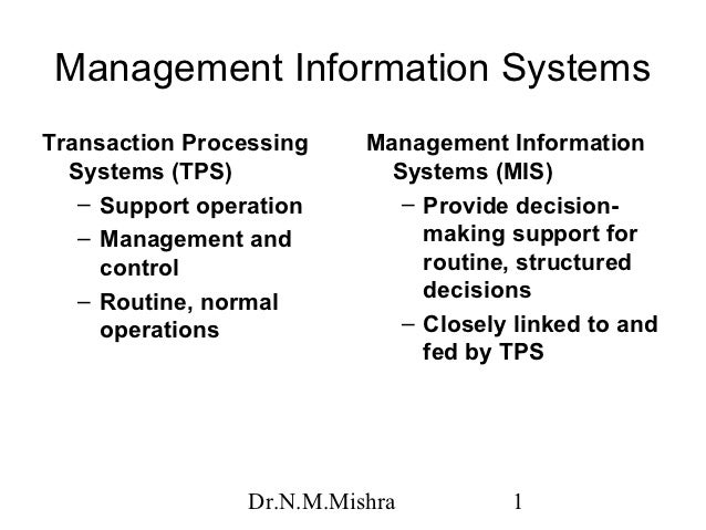 Management Information SystemsTransaction Processing     Management Information  Systems (TPS)              Systems (MIS) ...