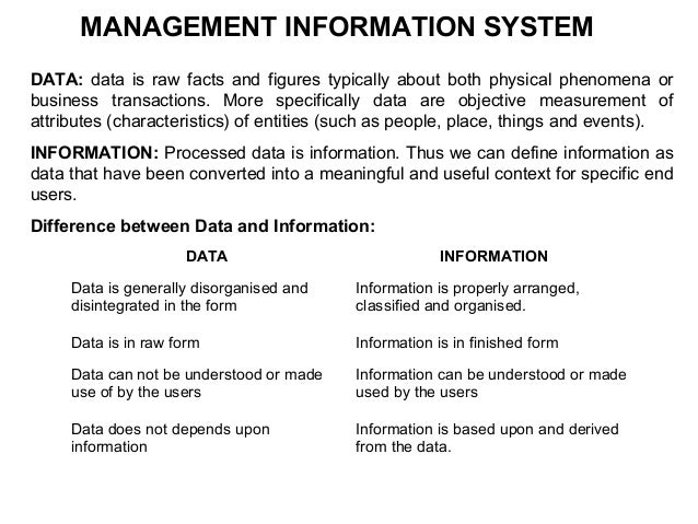 MANAGEMENT INFORMATION SYSTEMDATA: data is raw facts and figures typically about both physical phenomena orbusiness transa...