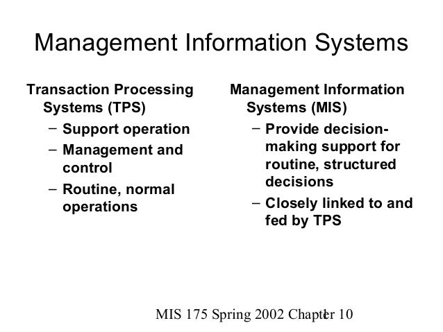 MIS 175 Spring 2002 Chapter 101Management Information SystemsTransaction ProcessingSystems (TPS)– Support operation– Manag...