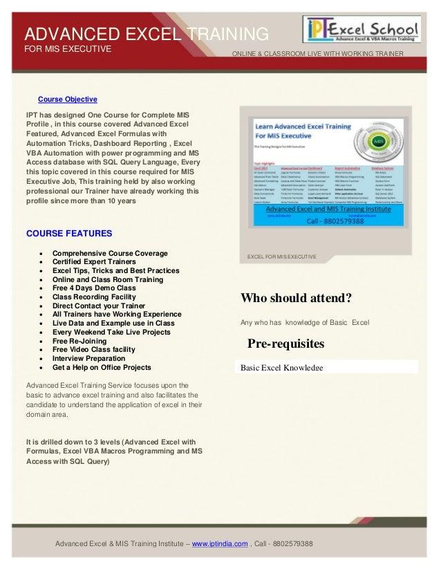 Advanced Excel Training Center Call - +91 9968811487