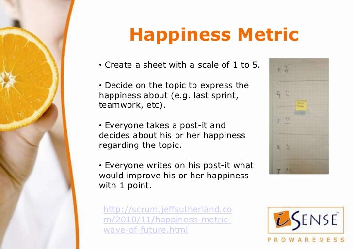 Happiness Metric• Create a sheet with a scale of 1 to 5.• Decide on the topic to express thehappiness about (e.g. last spr...
