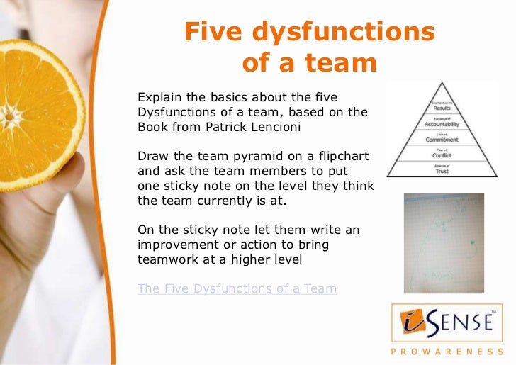 Five dysfunctions           of a teamExplain the basics about the fiveDysfunctions of a team, based on theBook from Patric...