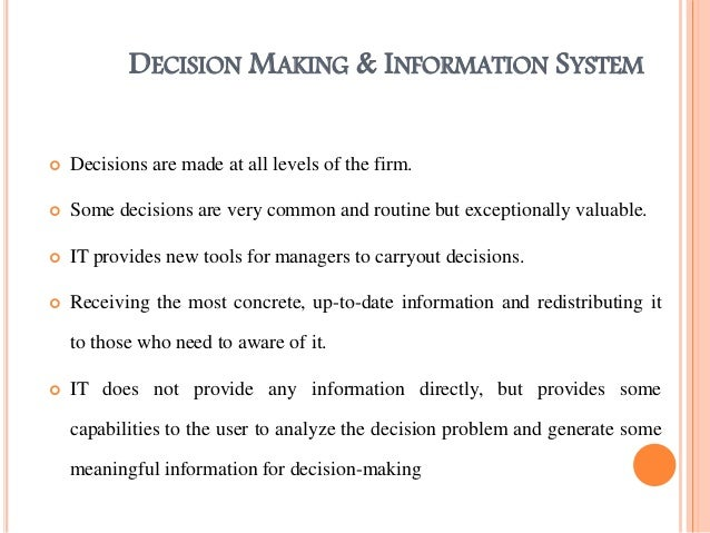 management report on decision making Conditions for making decisions desktop tools can easily create reports and summaries of and manage risk is critical in management's decision-making.