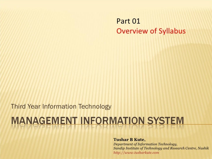 Third Year Information Technology Part 01 Overview of Syllabus Tushar B Kute, Department of Information Technology, Sandip...