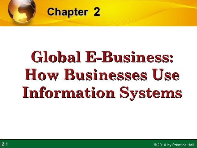 Chapter 2       Global E-Business:      How Businesses Use      Information Systems2.1                  © 2010 by Prentice...