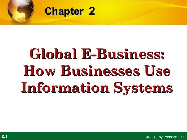 2.1 © 2010 by Prentice Hall 22ChapterChapter Global E-Business:Global E-Business: How Businesses UseHow Businesses Use Inf...