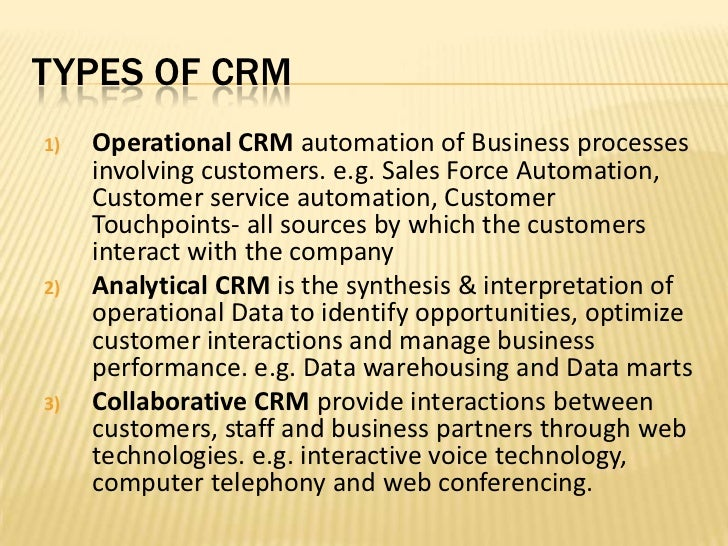 types of customer relationship management MIS 13 Customer Relationship Management
