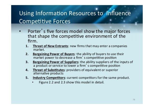 the application of porters five competitive forces in achieving companys goals Factors that influence effective strategic planning process in  achieving the set goals and objectives as per the vision and  the porters five forces.