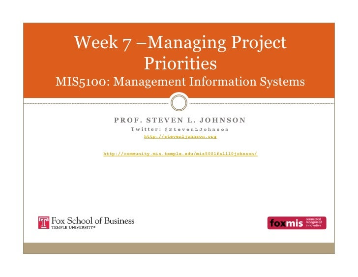 Week 7 –Managing Project           Priorities MIS5100: Management Information Systems            PROF. STEVEN L. JOHNSON  ...