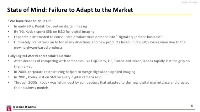 """""""We have tried to do it all"""" • In early 90's, Kodak focused on digital imaging • By '93, Kodak spent $5B on R&D for digita..."""