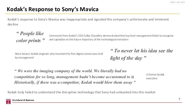 Kodak's response to Sony's Mavica was inappropriate and signaled the company's unfortunate and imminent decline 7 Kodak's ...