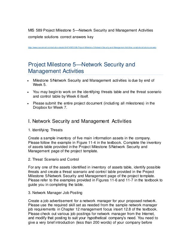Mis 589 project milestone 5 network security and management