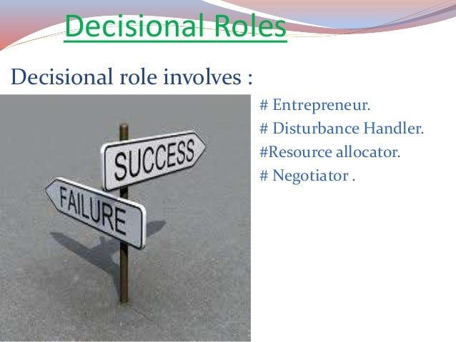 disturbance handler role Key words: manager, leader, supervisor, managerial roles, management  disturbance handler role – manager improves the organization's structures, re.