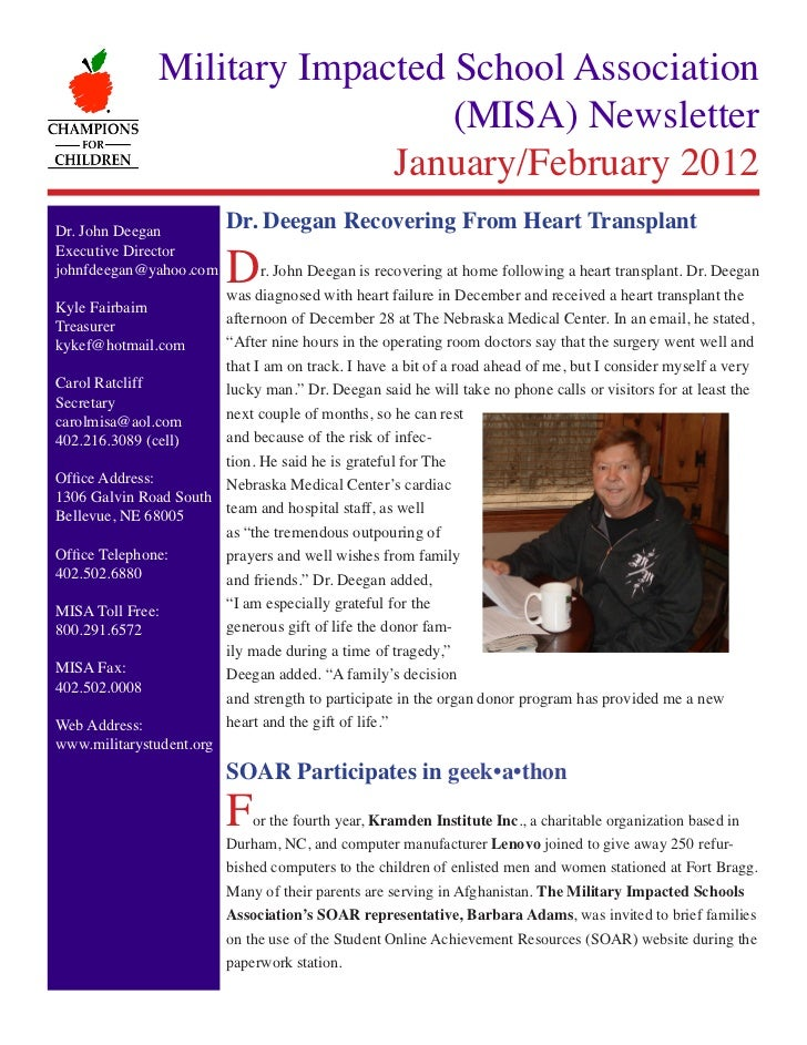 Military Impacted School Association                                   (MISA) Newsletter             