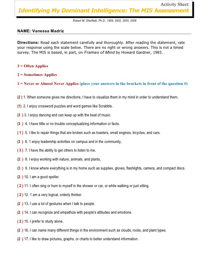 Activity Sheet:Identifying My Dominant Intelligence: The MIS Assessment                                         Robert M. ...