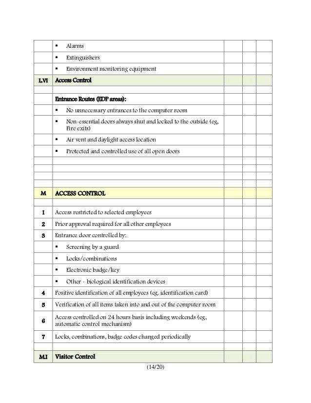 Office Environmental Audit Checklist Gallery