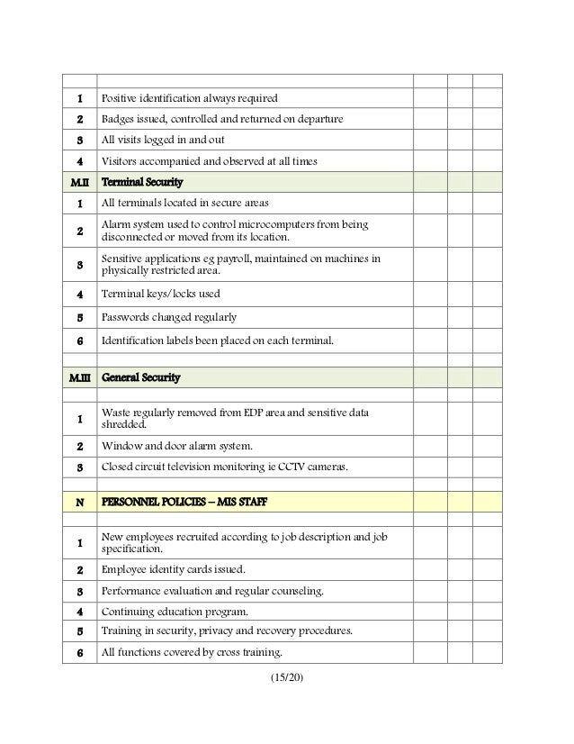 Audit checklist for information systems for Security guard risk assessment template