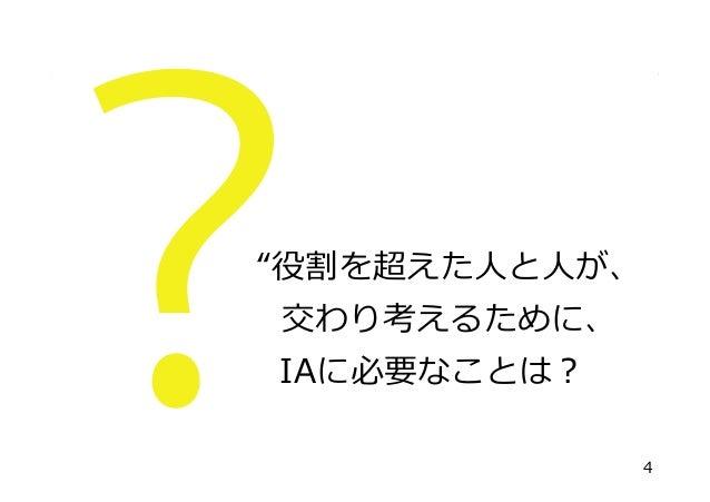 """""""役割を超えた⼈人と⼈人が、 交わり考えるために、 IAに必要なことは? 4"""
