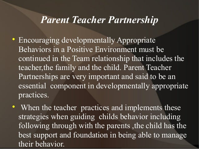 teacher parents partnership Establishing a parent-teacher relationship the first contact with your child's teacher, in many ways building successful parent-teacher partnerships.