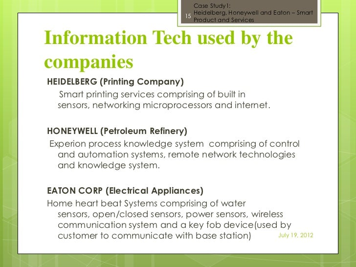 heidelberg honeywell and eaton using information technology to build smart products and services How to use this guide products and services shows the companies providing the product or service and the sectors they cover products and services index for more information on the range of member services we offer and to find out how we can help you develop your business, please see about the eic on page 6.
