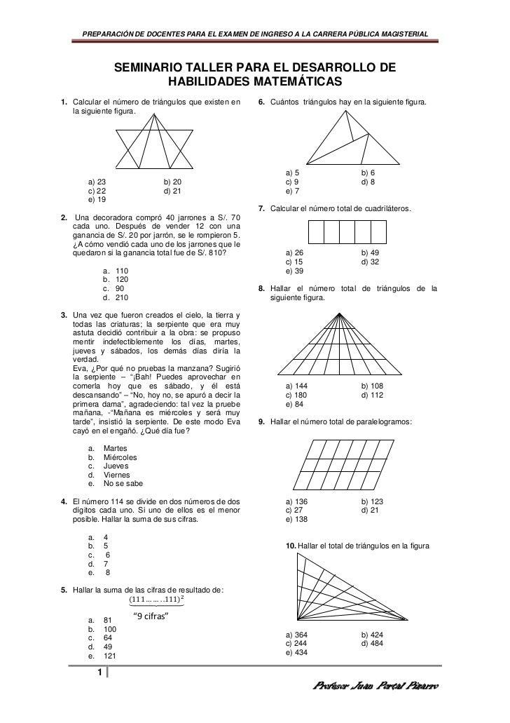 Razonamiento matematico para docentes for Examen para plazas docentes 2017
