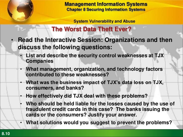 list and describe the security control weaknesses at tjx companies The tjx companies set aside $107 million to cover the litigation against it and   organizations have created guidance documents to define internal controls, and   the federal trade commission (ftc) and other agencies promulgated what  are  threats have the potential of exploiting these weaknesses to damage the.
