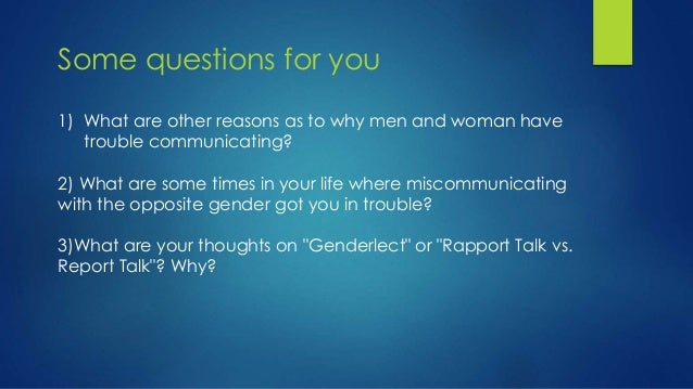 Miscommunication gender role and relationship