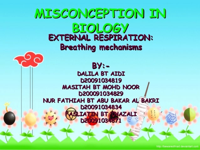 MISCONCEPTION INMISCONCEPTION IN BIOLOGYBIOLOGY EXTERNAL RESPIRATION:EXTERNAL RESPIRATION: Breathing mechanismsBreathing m...