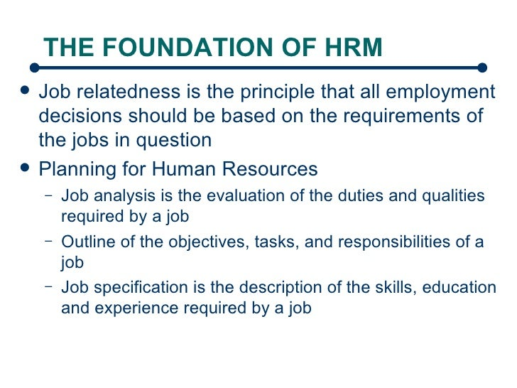 Foundation of hrm