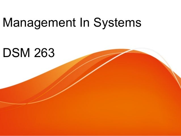Management In Systems DSM 263