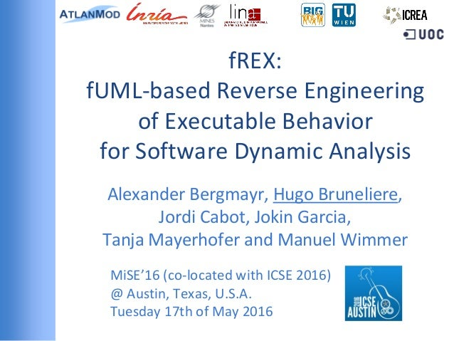 fREX: fUML-based Reverse Engineering of Executable Behavior for Software Dynamic Analysis Alexander Bergmayr, Hugo Bruneli...