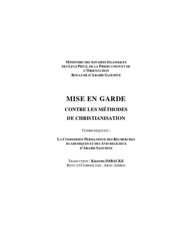 MINISTERE DES AFFAIRES ISLAMIQUES  DES LEGS PIEUX, DE LA PREDICATION ET DE              L'ORIENTATION       ROYAUME D'ARAB...