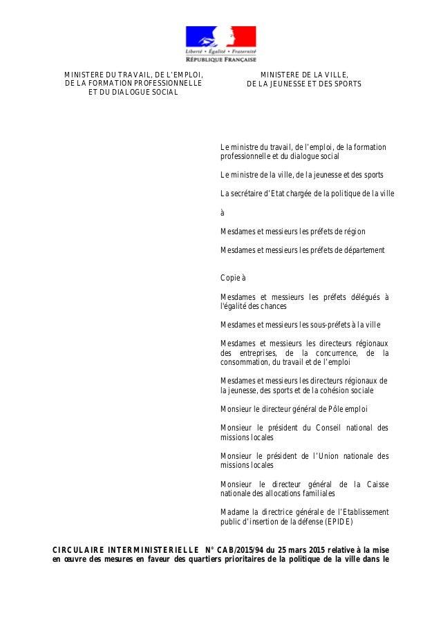 MINISTERE DU TRAVAIL, DE L'EMPLOI, DE LA FORMATION PROFESSIONNELLE ET DU DIALOGUE SOCIAL MINISTERE DE LA VILLE, DE LA JEUN...