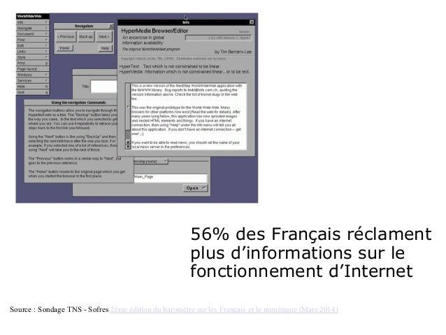 56% des Français réclament plus d'informations sur le fonctionnement d'Internet Source : Sondage TNS - Sofres 2ème édition...