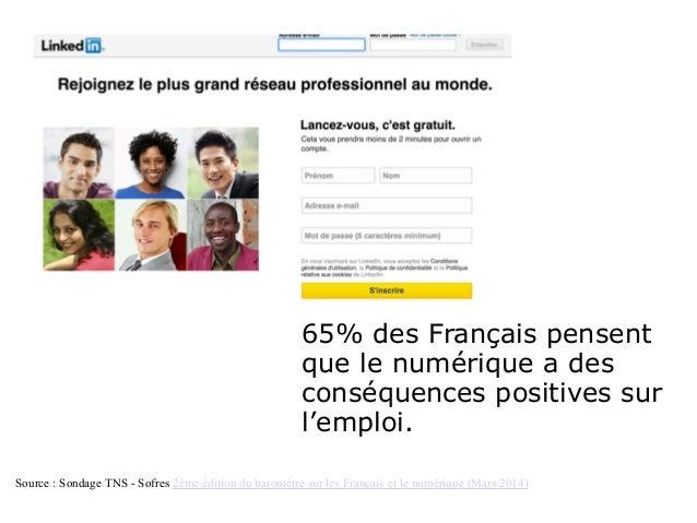 65% des Français pensent que le numérique a des conséquences positives sur l'emploi. Source : Sondage TNS - Sofres 2ème éd...