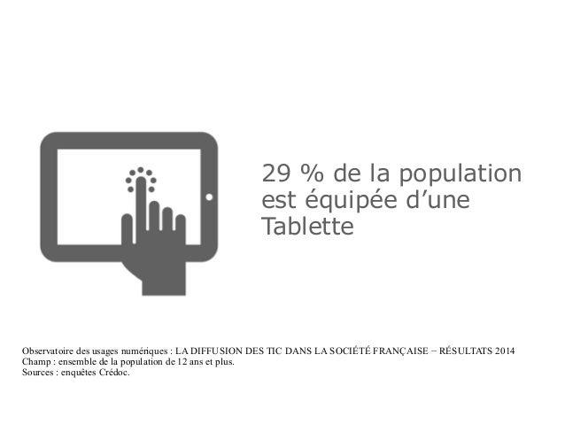 29 % de la population est équipée d'une Tablette Observatoire des usages numériques : LA DIFFUSION DES TIC DANS LA SOCIÉTÉ...