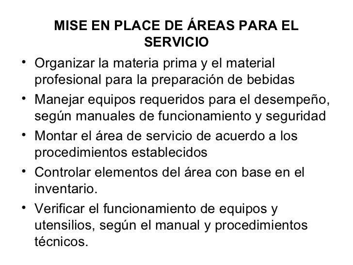 Mise en place service service for Manual de procedimientos de alimentos y bebidas de un hotel