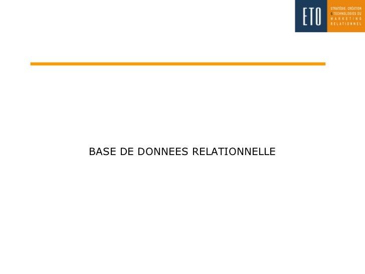 BASE DE DONNEES RELATIONNELLE