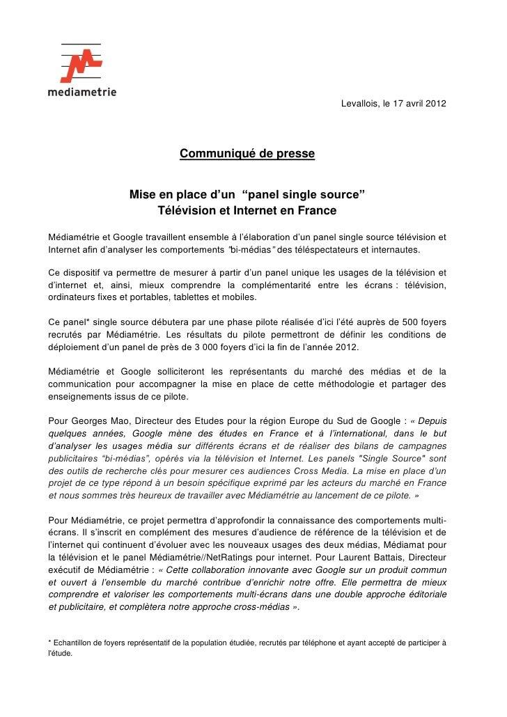 Levallois, le 17 avril 2012                                       Communiqué de presse                        Mise en plac...
